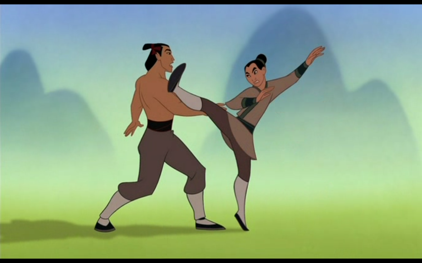 Then we go back to Shan Yu  who is evil and shit  He cuts down trees    Mulan Shang Training