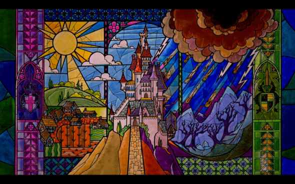 Ranking Disney Beauty And The Beast B Movie Blog - Beautiful painted window silhouettes interact outside world